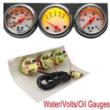 Universal Auto 50mm Chrome Oil Pressure Water Volt Triple 3 Gauges Set Kit【USA】