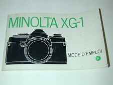 NOTICE MINOLTA XG-1 en FRANCAIS  photo photographie
