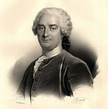 Grand Portrait de Charles Duclos - Lithographie originale XIXème