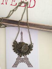 New Bronze vintage stylish big eyes owl pendant necklace sweater chain