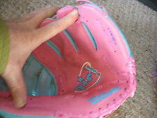 """Used Girl! T Ball Glove by Wilson.  10""""A2448 pink and turquoise."""