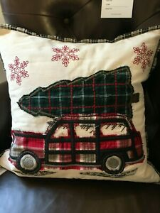 """NEW Pottery Barn Woody Car All The Way Home Christmas Tree Pillow Cover Sham 20"""""""