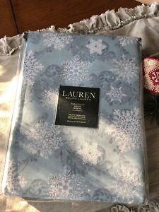 NEW RALPH LAUREN SNOWFALL BLUE  60 X 120 TABLECLOTH NEW