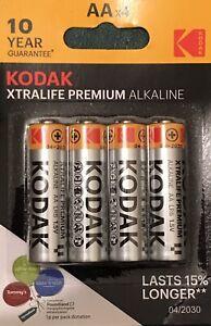 AA Kodak Batteries Xtralife Premium Alkaline, Silver, Lasts 15% Longer