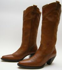 WOMENS WHITE MOUNTAIN BRN LEATHER HIGH HEEL FASHION COWBOY WESTERN BOOTS 6.5 M