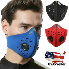 Reusable Dual Air Breathing Valve Face Mask Cover with Activated Carbon Filter~