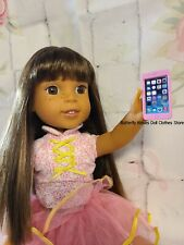 "Pink Metal Cell Phone 14.5"" Doll Accessory For American Girl Wellie Wisher Dolls"