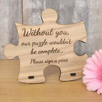 Jigsaw Puzzle Piece Shaped Personalised Oak Wooden Sign for Wedding Guestbook