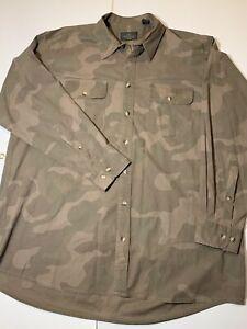 Red Head Mens Cotton Long Sleeve Brown Camouflage Botton Front Shirt Sz. 2XL XXL
