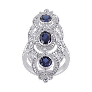 September Birthstone Blue Sapphire & 1/10 ct Diamond Ring in Sterling Silver