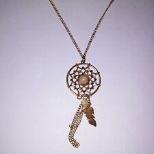 "Necklace Dream Catcher Gold Tone Feather 16"" Chain Dream Catcher"
