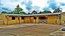 40' x 52' L SHAPE HORSE STABLE BLOCK - PRESSURE TREATED - TANALISED