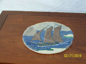 Vintage Grenfell Hand Hooked Seascape Mat Oval Rug