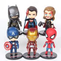 6pcs/set The Avengers Iron Man+ Captain America+ Thor Lot Figure Toys Kids Gifts