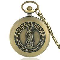 Antique CUARD Bronze Pocket Watch Vintage Quartz Necklace Chain Pendant Gift Men