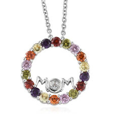 Simulated Multi Gemstone, White Topaz Platinum Over SS Circle Pendant with Chain