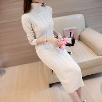 Womens Knitted Turtleneck Slim Sweater Dress Long Sleeve Thick Pullover Knitwear