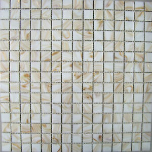GLASS MOSAIC TILE SHEETS - WHITE WITH BRONZE SHIMMER - VARIOUS PACK SIZES