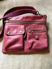 Fossil Long Live Vintage 1954 Fuchsia Leather Messenger Bag Cross Body Purse