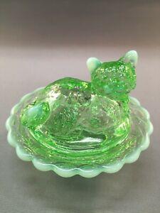 VINTAGE MOSSER GLASS COMPANY SALT DIP CAT ON BASKET - PALE LIME GREEN GLASS