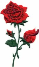 """RED ROSE 4 1/4"""" Iron On Patch Flowers Buds Roses Embroidered Applique"""