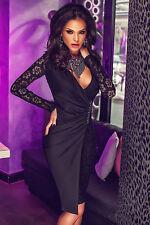 Vestito donna in PIZZO abito sera vestitino cerimonia elegante sexy nero DS61223