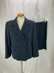 Doncaster Women's Blue Double Breasted Skirt Suit 12