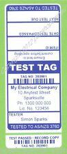 1000 CUSTOM BLUE Printed Electrical Adhesive Test Tag Labels