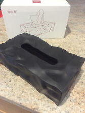 ESSEY TISSUE BOX COVER BLACK CRUMBLE EFFECT WIPY 11 BRAND NEW