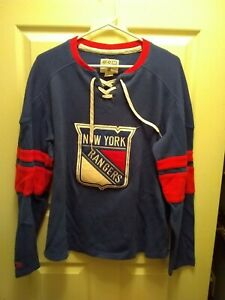 New York Rangers CCM Official Vintage Apparel Navy and Red Logo Shirt, Women's L
