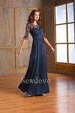 Navy Blue Mother of the Bride Dress Full Length 3/4 Sleeve A-Line Pleated Custom