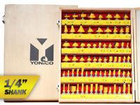 """70 Bit Professional C3 Carbide Router Bit Set - 1/4"""" Shank - Yonico 17702q"""