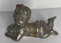 Vintage Paltrow Solid Pewter Baby Holding Bottle Paperweight / Figurine