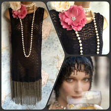 ZARA 20 S deco or Dentelle Noir Perle Tassel Clapet Gatsby Crochet Robe 14 42