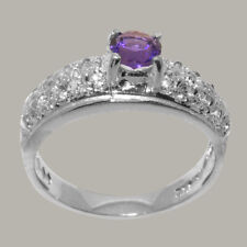 Solid 14k White Gold Natural Amethyst & Diamond Womens Band Ring - Sizes J to Z
