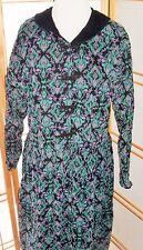 Eddie Bauer Farm Dress Grunge Black Turquoise Paisley Vtg Corduroy 90s SZ L