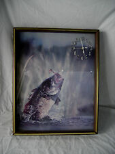 "Fish Breaking the Water Wall Clock 21"" x 17"" with Glass Face"