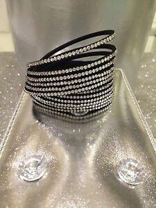 Sublime Bracelet Studded Wrap Multi Row Double Tour Rhinestone Clasp Pressure