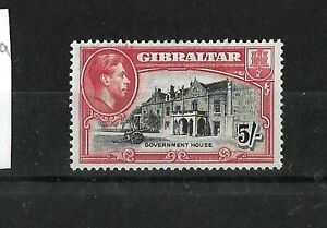Gibraltar 1938 KGVI 5/- black & carmine  perf 13.5 LMM (G404)