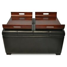 Convenience Concepts Designs4Comfort Storage Ottoman w/Trays, Espresso - 163020E