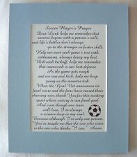 SOCCER PLAYERS Prayer TEAM Kickoff Goal Net SPORTS Score verses poems plaques