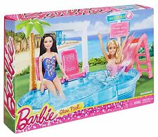 New Swimming Pool Barbie Doll Slide Glam Set Summer Playset Pink Beach Summer