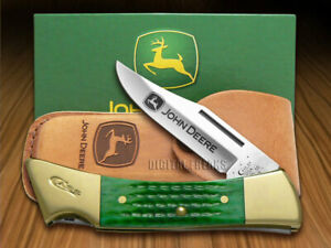 Case xx John Deere Hammerhead Lockback Knife Jigged Green Bone 05947