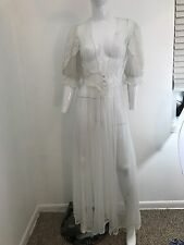 VTG VAL MODE White Sheer Lace Long Nightgown Robe Lingerie SZ Medium Small Sissy
