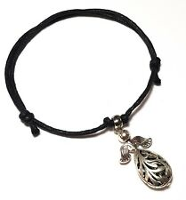 Black Cord Angel Wing Ankle Bracelet Adjustable Anklet Bead Silver Foot Charm
