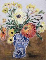 Ölgemälde Stillleben Blumenstrauß Spätsommer Vase Astern Dahlien 29,5 x 39 cm