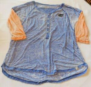 Colosseum NFL Florida Gators Size XL xlarge 3/4 Sleeve Sheer T Shirt blue <>