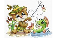 Cross Stitch Kit Fishing time (cat) M-051