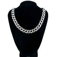 """Men's Silver Plated Cuban Link Crystal Chain Hip Hop Necklace 18"""" 20"""" 23"""" 30"""""""