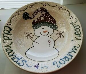 "Expressly Yours Extra Large Holiday SERVING BOWL Snowman 15 X 5"" in 2001 tt myc"